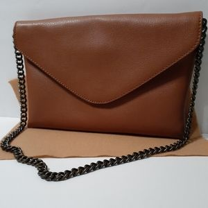 J. Crew Brown Leather Envelope Bag